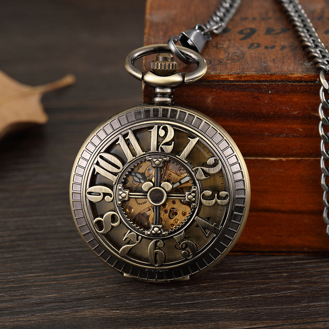 12 O'clock Display Mechanical Pocket Watch Arabic Numerals Hollow Hand-winding S