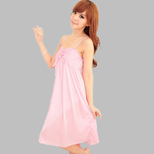 Ladies Sexy Silk Satin Nightdress Sleeveless Nighties Nightgown Short Sleepshirt Sleepwear Nightwear For Women Night Shirt E206