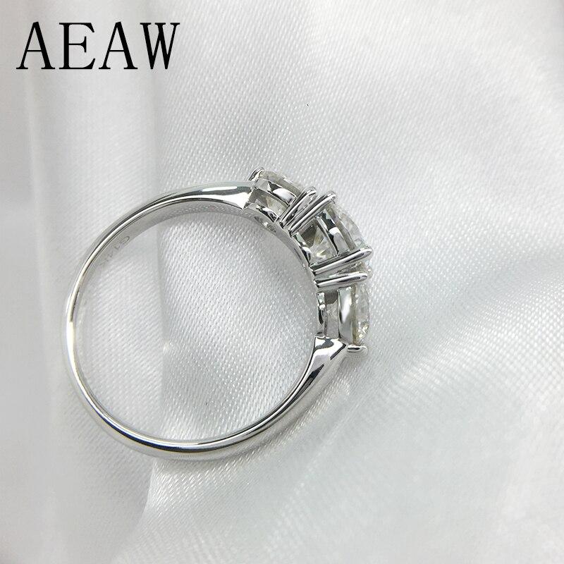 2ctw 6,5mm Runde Cut Engagement & Hochzeit Moissanite Diamant Ring Doppel Halo Ring Platin Überzogene Silber-in Ringe aus Schmuck und Accessoires bei  Gruppe 3