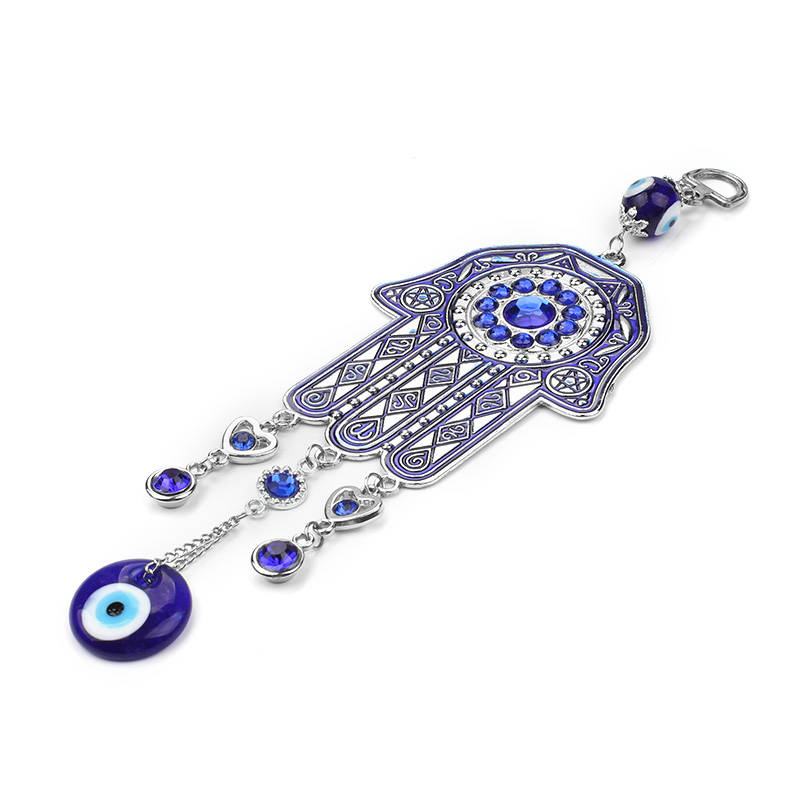 Lucky Blue Glass Evil Eye Fatima Hanging Hamsa Hand Keychain Big Style Home Decoration Office Protector Ornament