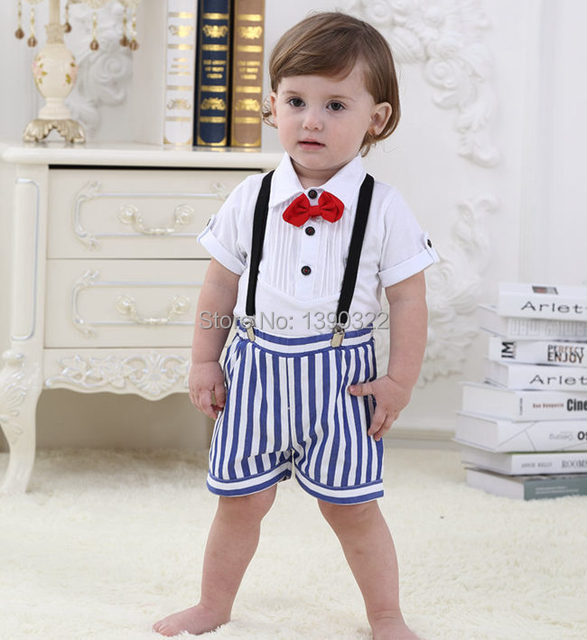 Summer Cotton Children's Clothing Sets Gentleman Style Short-Sleeve+ Striped Pants Baby Boys Clothes Kids Clothes For 6-32 Month