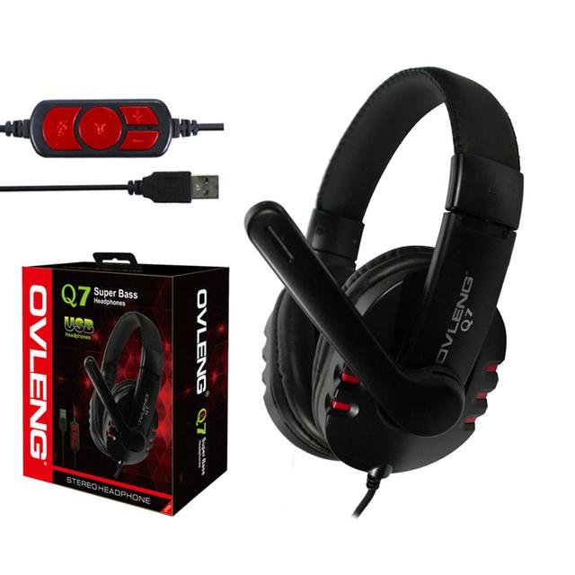 Ovleng q7 usb wired game gaming fone de ouvido over-ear fone de ouvido estéreo com microfone headband fone de ouvido para o jogo de computador tablet pc