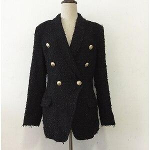 Image 5 - Veste en Tweed avec col châle pour femmes, veste de styliste, haut de gamme 2020, col châle, boutons lions croisés
