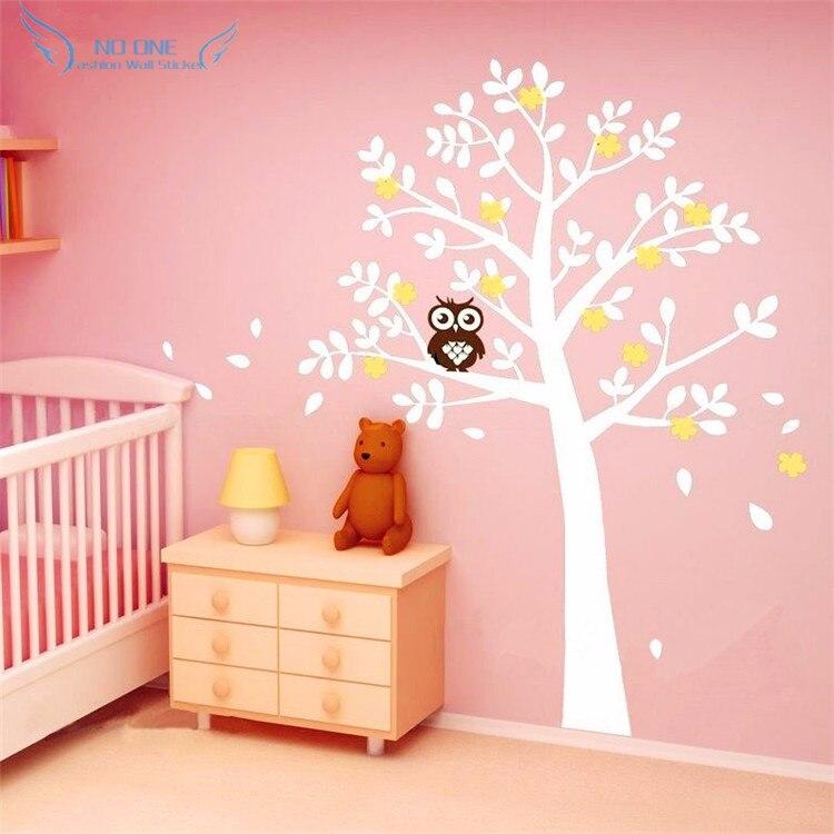 Огромный белый дерево цветы виниловая наклейка на стену питомник дерево и совы настенное Искусство Настенная детская спальня стикер домаш