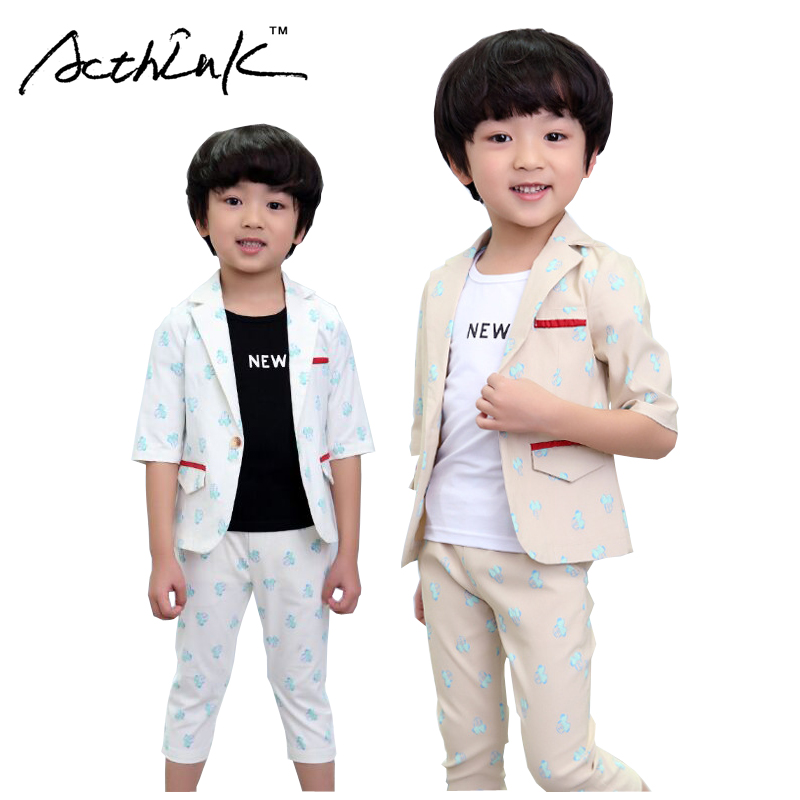 ActhInK New Baby Boys Summer Formal Cartoon Clothing Set Kids Half - Children's Clothing - Photo 1