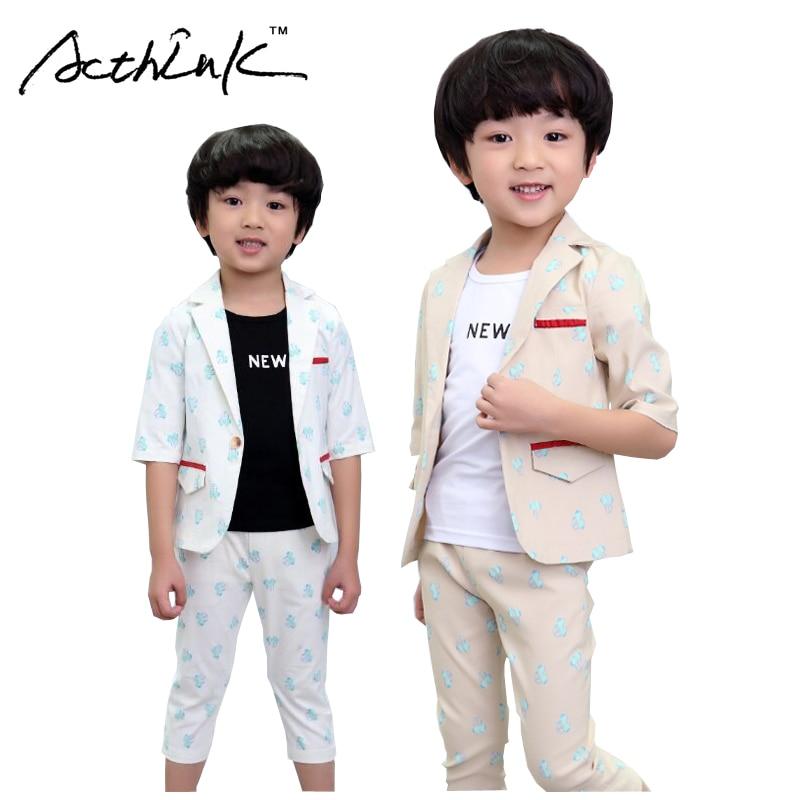ActhInK Yeni Bebek Erkek Yaz Resmi Karikatür Giyim Seti Çocuklar - Çocuk Giyim - Fotoğraf 1