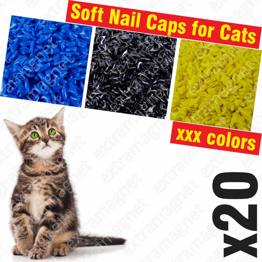 20pcs Soft Nail Caps For Cats + 1x Adhesive Glue + 1x Applicator /* Xs, S, M, L, Cover, Cat, Paw, Claw, Xzo */
