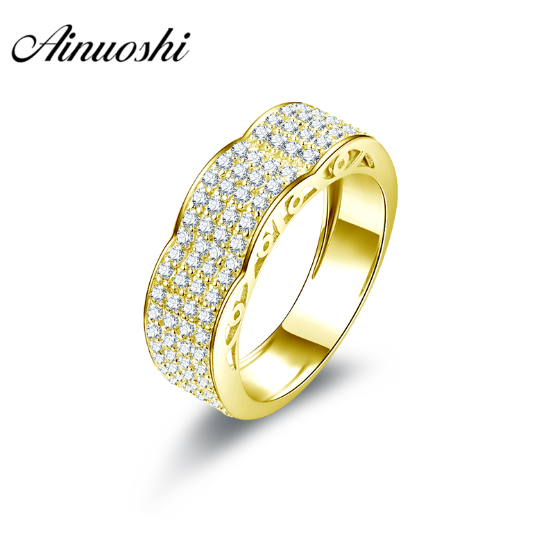AINUOSHI Luxury Male Band 10K Solid Yellow Gold Ring Shining Weaving Cluster Ring Wedding Engagement Gold Jewelry 4.7g Men Ring weaving shape embellished alloy ring