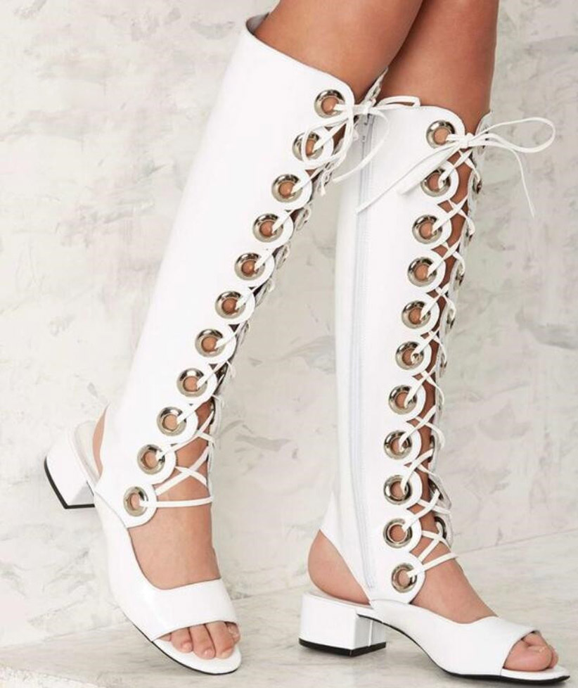 New Ladies White Grommet Cross-tied Sandals Boots Med Chunky Heel Rome Style Long Tube Knee High Boots Summer Sexy Women Botas rousmery sexy white metal buckle strap cross tied hollow out chunky heel women gladiator sandals summer knee high boots women