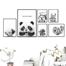 Black and White Cat Dog Owl Animal Sprout Pet Series A4 Canvas Painting Art Print Poster Picture Wall Paintings Home Decor