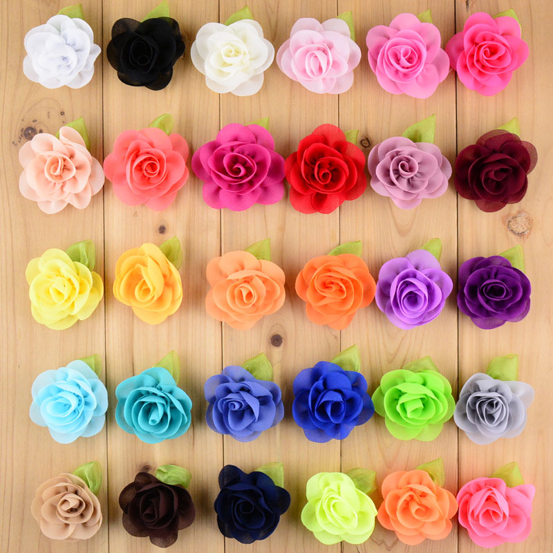DHLFree Shipping 500pcs lot New Style Flower With Green Leaf For girls Boutique Hair Flower Headwear