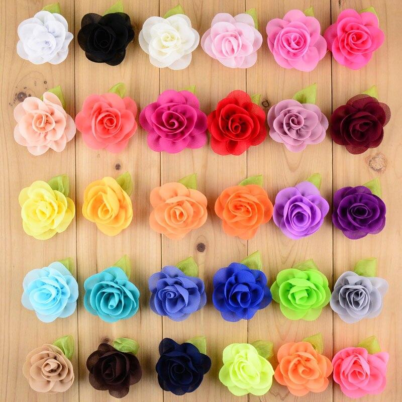 Dhlfree 出荷 500 ピース/ロット新スタイルのフラワーとグリーンリーフ女の子のためのブティック髪の花帽子 Diy アクセサリー TH21  グループ上の ママ & キッズ からの ヘアアクセサリー の中 1