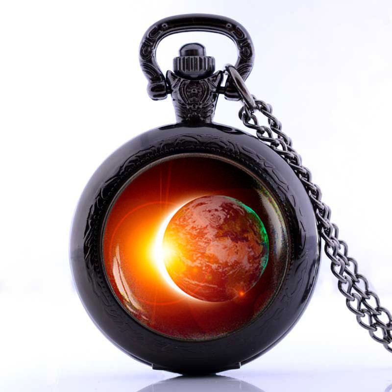 Solar Eclipse Pocket Watch Necklace Alloy and Glass Material Jewelry Sun Mens Clock Pendant