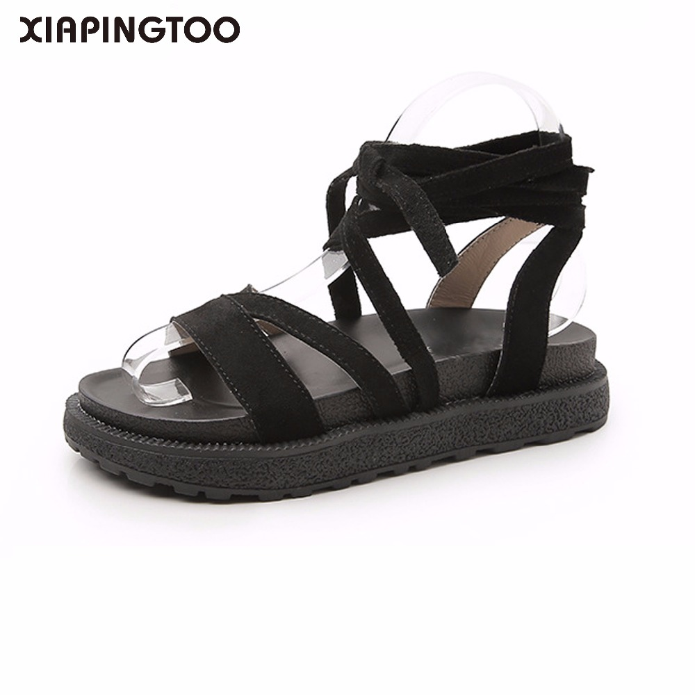 Pure Cow Leather Women Rubber Sandals Shoes Rome Shoes Ankle Strap Black Low Heel Platform Open Toe 2018Slippers Big Size 34-43 ribetrini women hot sale cow leather low heel wedges summer casual shoes woman ankle strap open toe platform sandals size 34 39