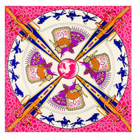 2015 New Desigual Scarf Horse Print Orrange Twilly Silk Skull Scarf Horse Carriage Pattern Scarves And