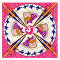 Horse Scarf Big Size 130X130CM Bandana Pink Carriage Horse Silk Scarf  Women Square Scarves and Shawls Cape Muslim Hijab