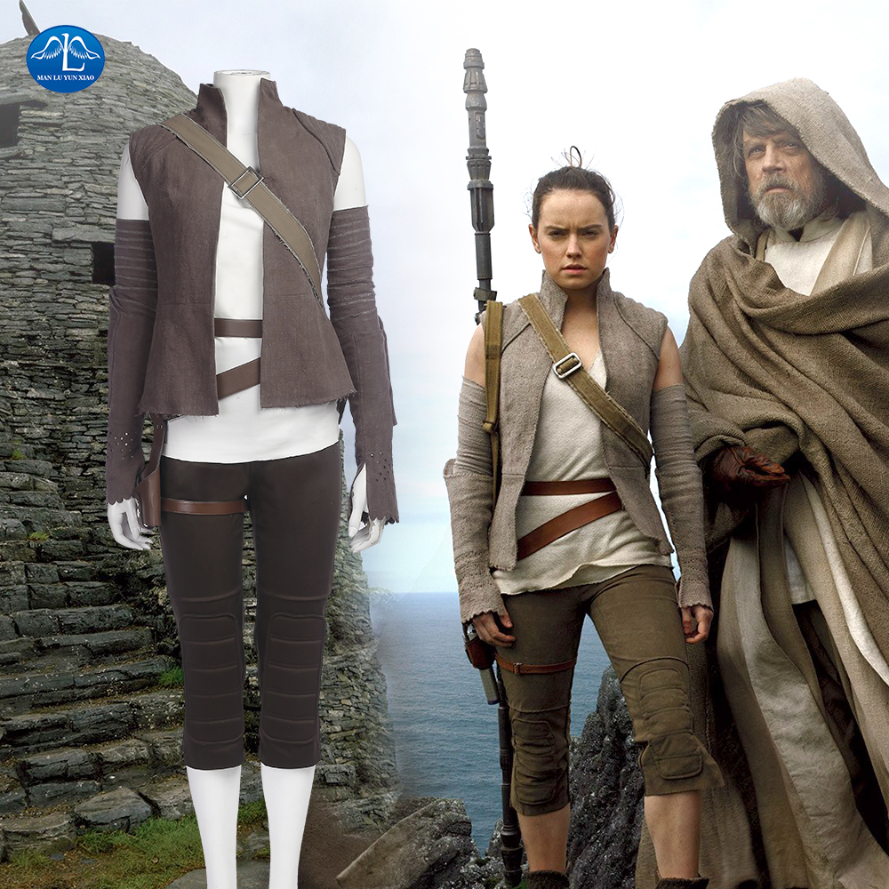 MANLUYUNXIAO Women Costume Star Wars 8 Cosplay Costume Rey Costume Adult Halloween Cosplay Costume For Women Custom Made