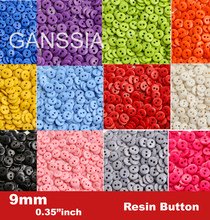 "100pcs/lot Size:9mm (11/32"") Candy colors fashion resin button for craft Bulk buttons garments Sewing accessories(SS-673)(China)"