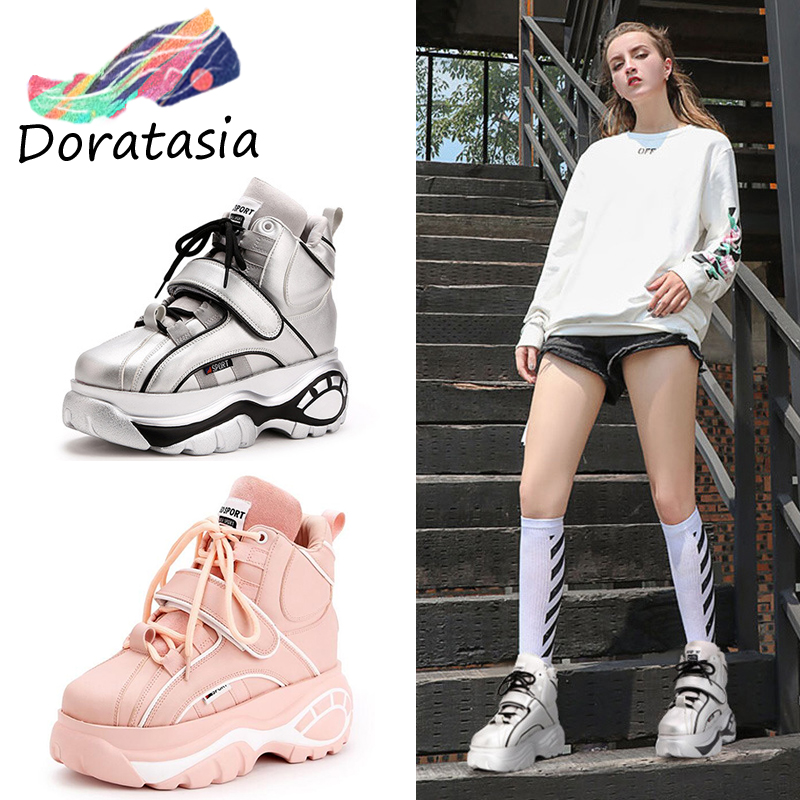 DORATASIA New Super fashion retro high top Height increasing women s boots spring autumn thick soled