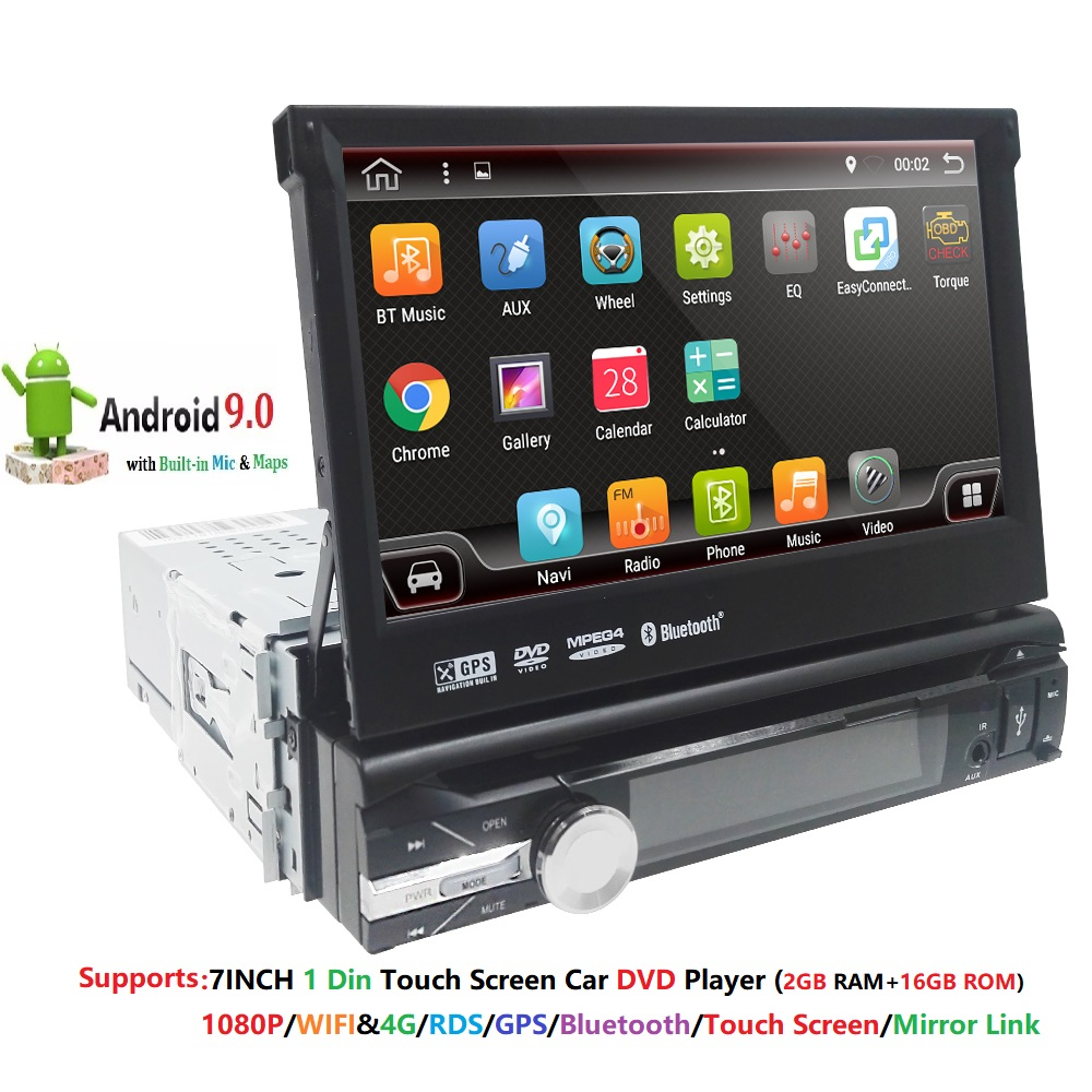 7 inch 1 Din Universal Android 9.0 2 GB RAM 16 GB ROM Car DVD Player Digital touch screen Car Media DAB+ TPMS DVR Mirror link