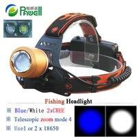 Dual Light Source Headlight Blue White Light Fishing Headlamp Head Led Flashlight Linterna Frontal 18650 Battery
