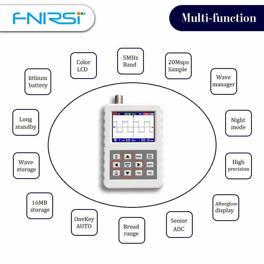 DSO FNIRSI PRO Handheld mini draagbare digitale oscilloscoop 5M bandbreedte 20MSps sampling rate