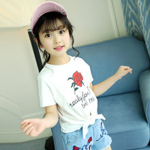 Girls cotton printed rose T-shirt 2019 summer baby white split split short-sleeved shirt 3-14 years baby girl clothes(China)