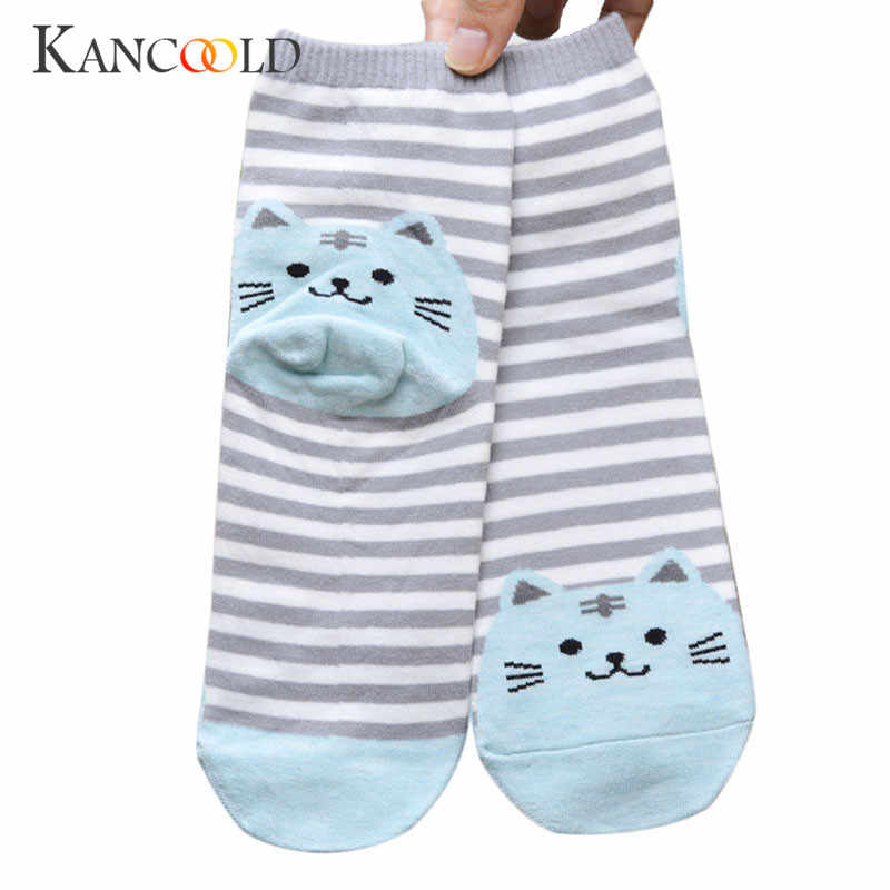 Sweet Girls Striped Sock women Short Socks Cute Cat Footprints Hosiery Warm Autumn Ankle high Socks Elastic Cartoon Floor sp20D