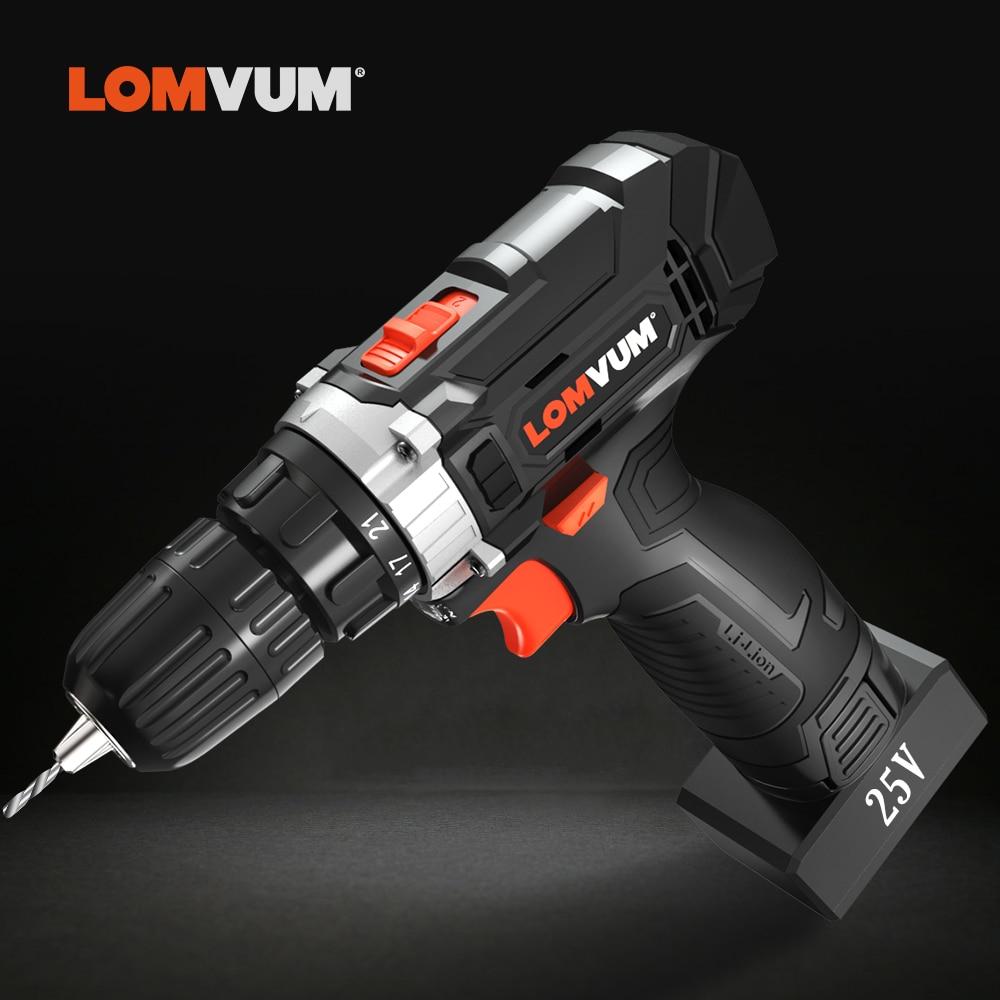 Image 4 - LOMVUM цифровая аккумуляторная электрическая дрель, двухскоростная шуруповерт, мощный цифровой дисплей, бытовые электрические дрели-in Электрические сверла from Инструменты