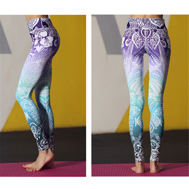 Oyoo Stunning Beautiful Yoga Pants High Waist Floral Printed Leggings Purple Blue Ombre Women's Tracksuit Running Fitness Pants