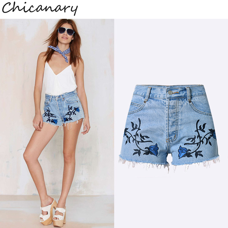 Chicanary Europe Embroidery 3D Floral Print Raw Hem Vintage Denim Jeans Shorts High Waist Women Summer