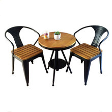 цены Wood preservative tables and chairs outdoor leisure cafe tea shop outdoor plastic wood seat metal frame chair and table set