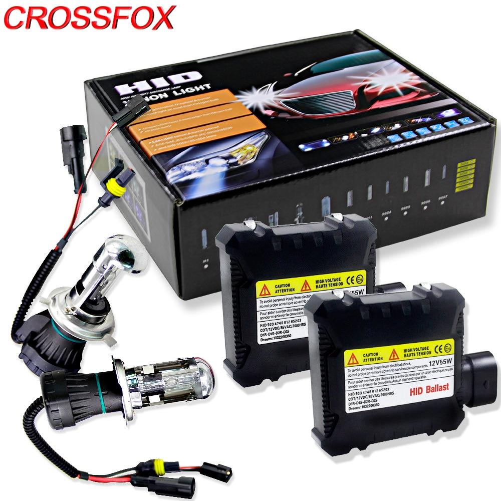 CROSSFOX Car Bulb Bixenon H4 Hi/Lo Xenon Headlight Replacement HID Ballast kit Fog Light 3000k 4300k 5000k 6000K 10000k 12000k