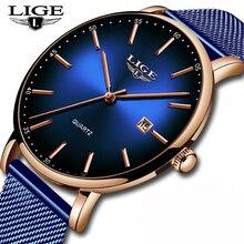 цена на LIGE Fashion Mens Watches Top Brand Luxury Blue Waterproof Watches Ultra Thin Date Simple Casual Quartz Watch Men Sports Clock