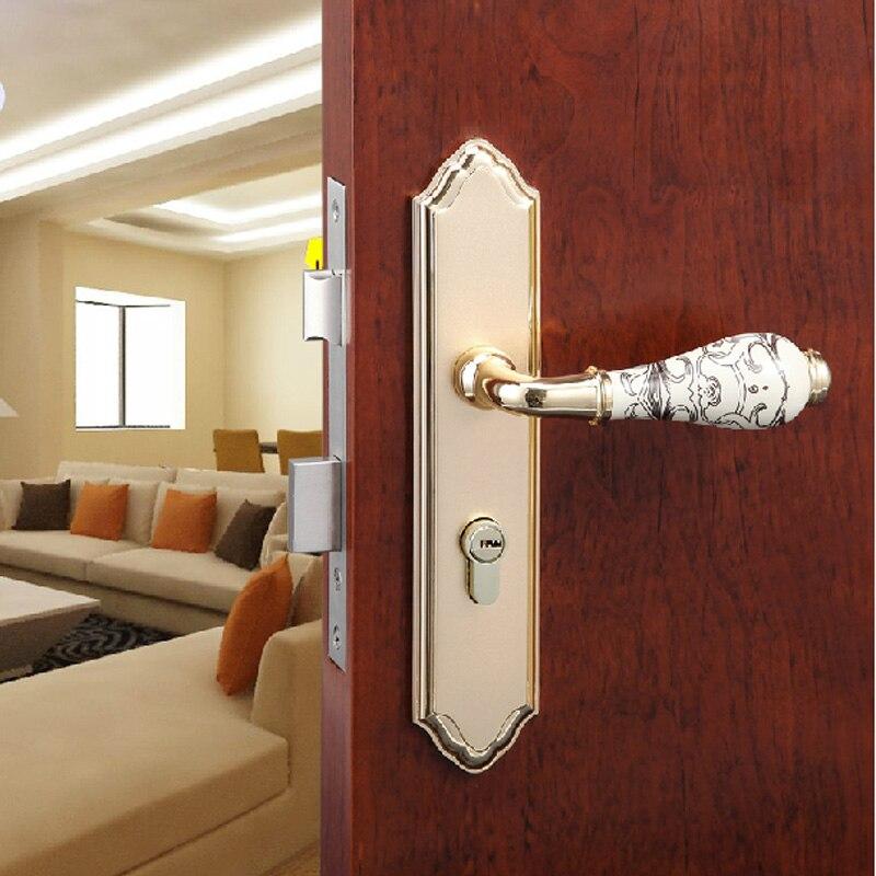 European bedroom interior door lock copper indoor handle lock Wood door  mechanical locks Modern simple ceramic. Online Get Cheap Modern Interior Door Handles with Locks