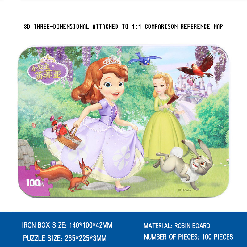Disney cartoon animation pizzles 2018 children gifts 100 pieces cars tin jigsaw puzzles children baby puzzles toys in Puzzles from Toys Hobbies