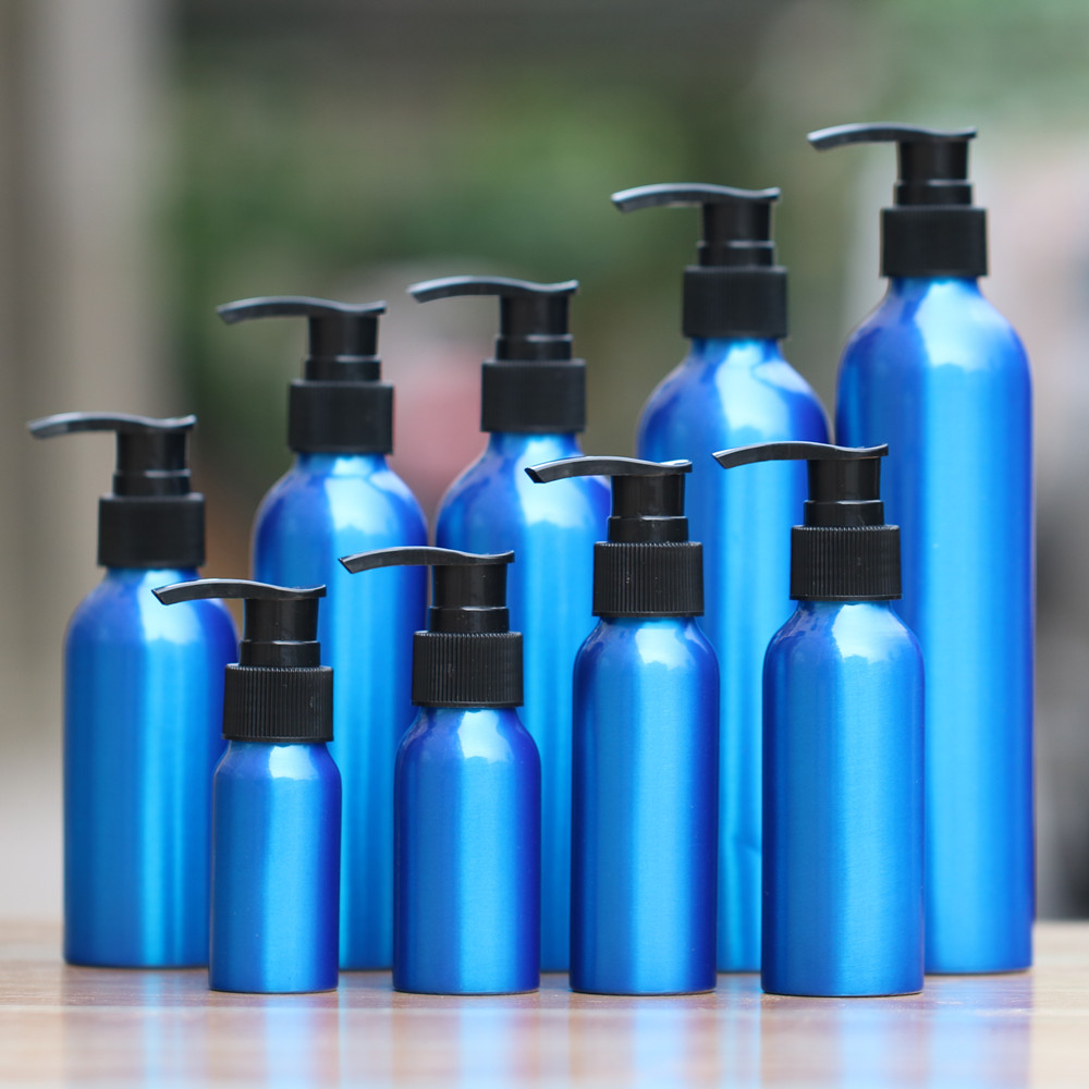 50pcs 30-500ml blue Aluminum empty Lotion Bottle plastic Black emulsion pressure pump cosmetic jar Sample subpackage travel beyarne women s d orsay flats spring autumn pointed toe shallow mouth woman basic flats shoes ladies casual single shoes pink