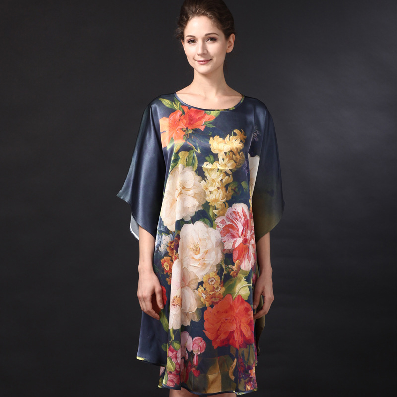 Silk Sleepshirts Plus Size 2018 Summer Sleepwear Women Sexy Nightdress Knee Length Loose Female Fashion Flower Printed Nightgown