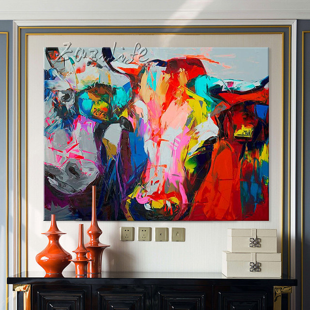 Us 47 2 20 Off Oil Painting On Canvas Wall Pictures Paintings For Living Room Wall Art Canvas Pop Art Bull Modern Abstract Hand Painted 17 In