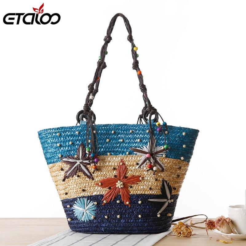 100% QualitäT Frauen Sommer Handtasche Neue Böhmen Hand Bestickt Starfish Stroh Tasche Sommer Perlen Gewebt Tasche Handtasche Ideales Geschenk FüR Alle Gelegenheiten