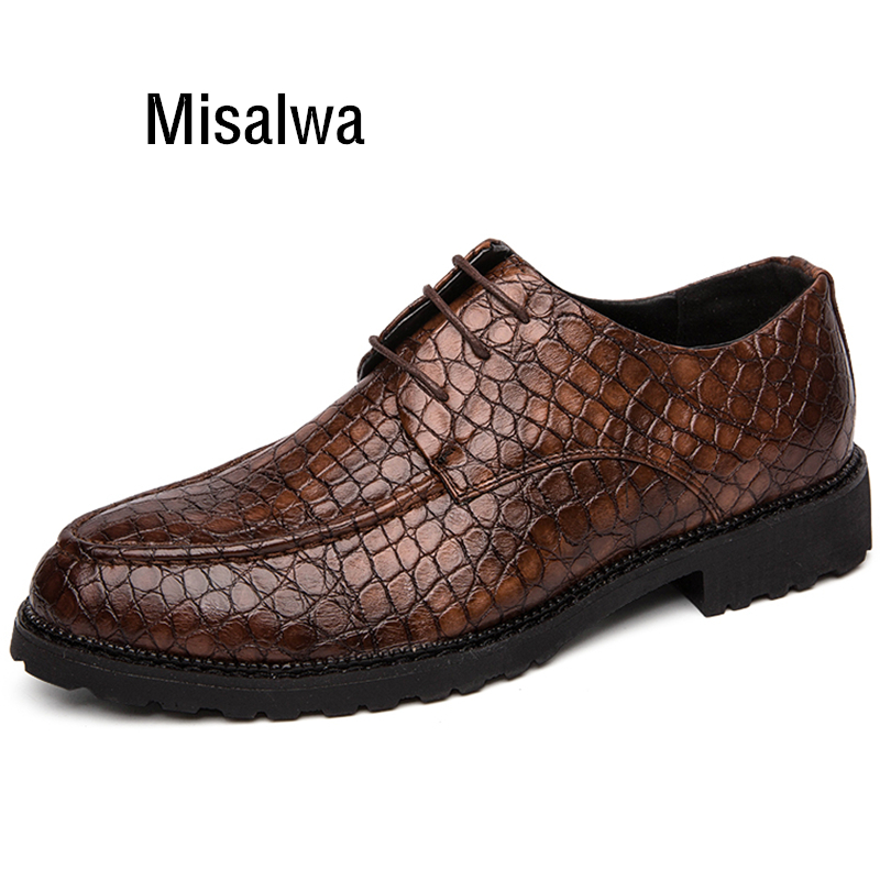 Misalwa Men Wedding Shoes Italian Business Brogue Shoes Lace-up Crocodile Pattern Casual Male Loafers Oxfords(China)