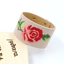 LEADERBEADS Womens 3D Rose Embroidery Wide PU Leather Cuff Bracelet&Bangles Girls Trendy Flower Valentines Day Snap Bracelet