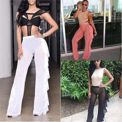 cdc2fc1c2 New Women Beach Mesh Sheer Bikini Cover Up Pants Black White Ruffles  Swimwear Bathing Suit Bottom