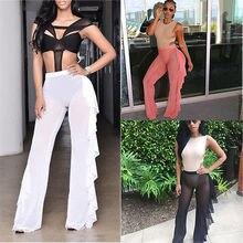 New Women Beach Mesh Sheer Bikini Cover Up Pants Black White Ruffles Swimwear Bathing Suit