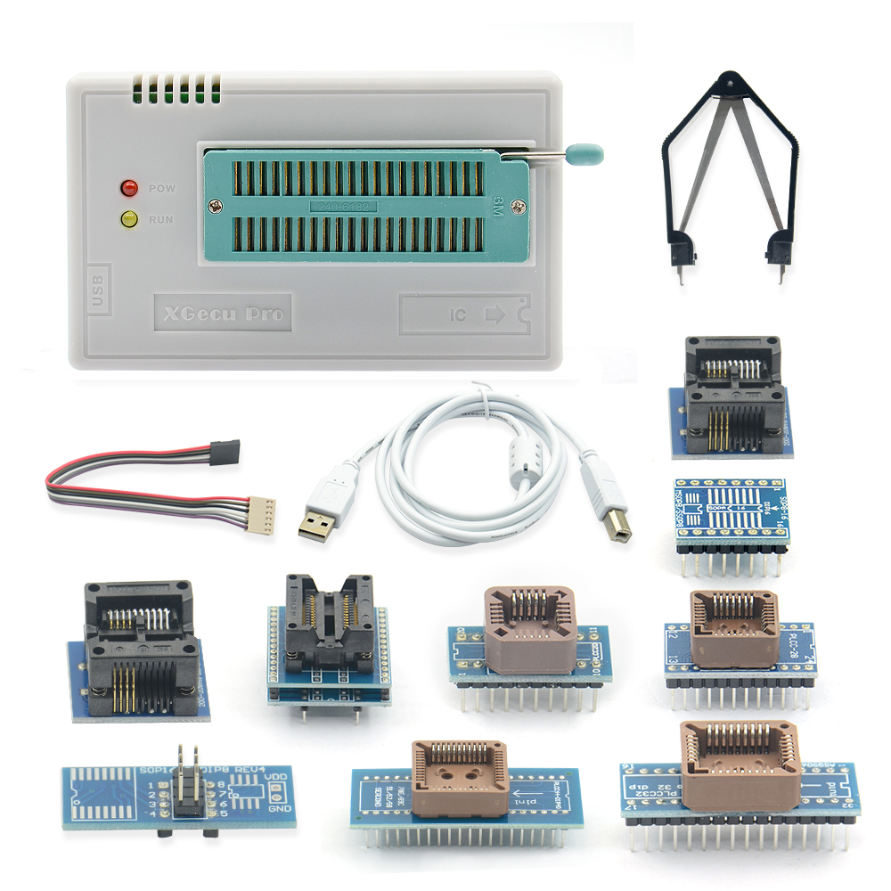 Original minipro TL866II Plus V8.33 TL866II USB Universal BIOS nand flash 24 93 25 mcu Programmer+10 IC Adapters-in Calculators from Computer & Office    1