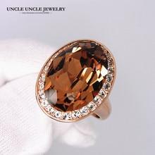 Ультра-дизайн большого бренда розовое золото цвет большое яйцо австрийский кристалл шампанское роскошное кольцо на палец