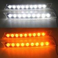 2x Car 9LED White Daytime Running Light DRL Amber Turn Signal Lamp 12V Turn Lights