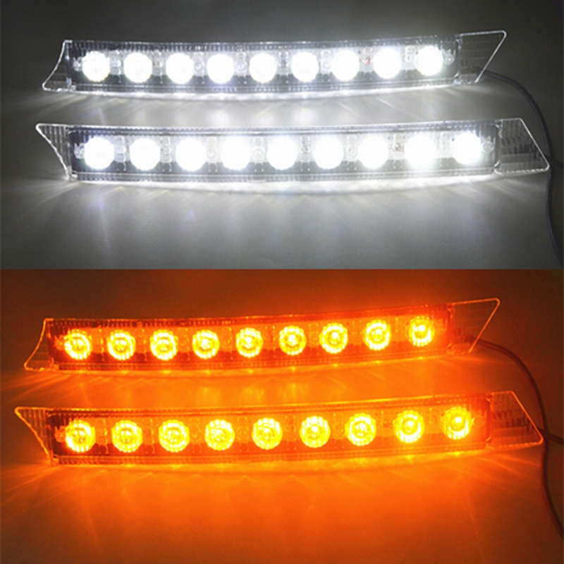 2x Car 9LED White Daytime Running Light DRL Amber Turn Signal Lamp 12V Turn Lights 2x led daytime running lights daylight turn signal drl lamp car styling light for ford ranger px mk2 2015 2016 2017 2018