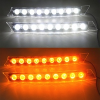 2x Car 9LED White Daytime Running Light DRL Amber Turn Signal Lamp 12V Turn Lights