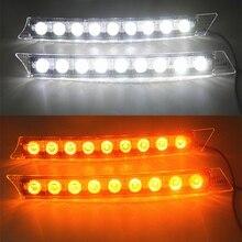 2x Car 9LED White Daytime Running Light DRL Amber Turn Signal font b Lamp b font